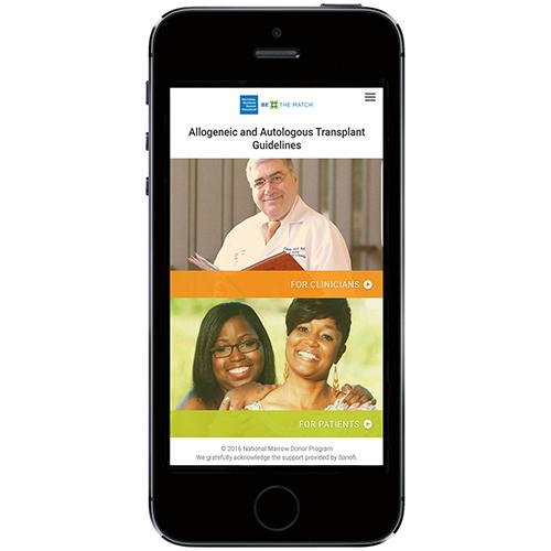 Transplant Guidelines mobile app homescreen