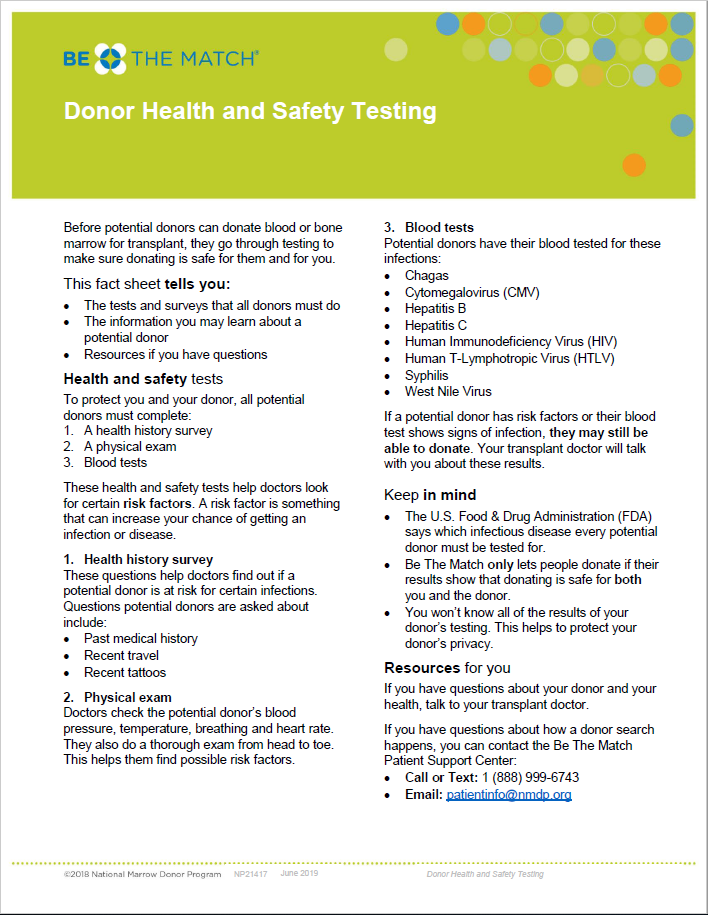 Donor Health and Safety Testing