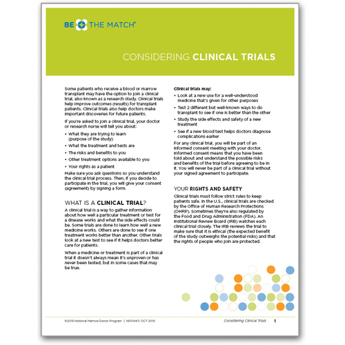 Considering Clinical Trials Patient Fact Sheet